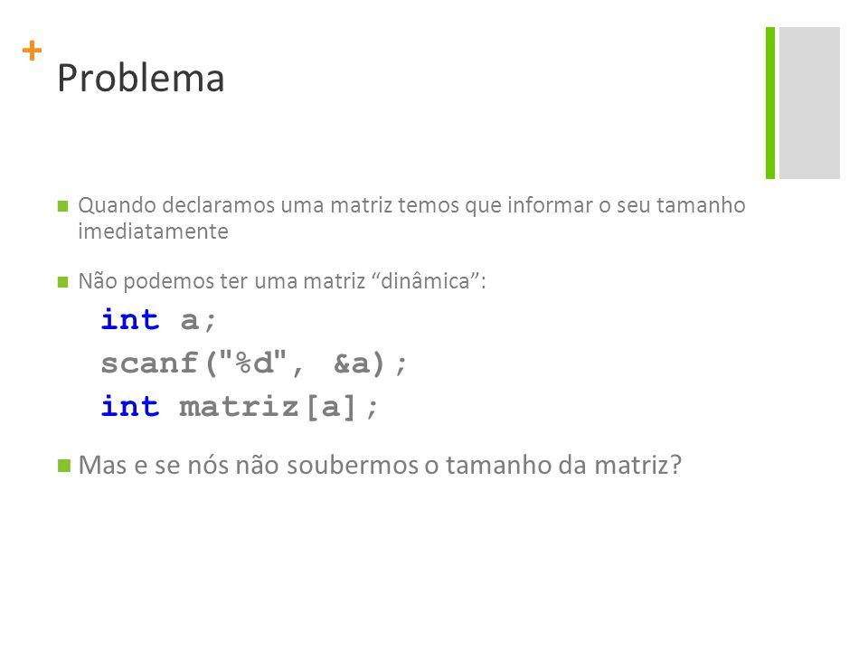 Problema int a; scanf( %d , &a); int matriz[a];